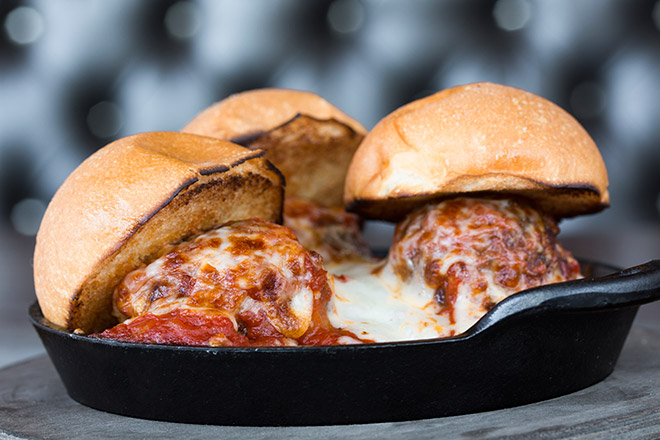 Try Stag Bar's Meatball Sliders