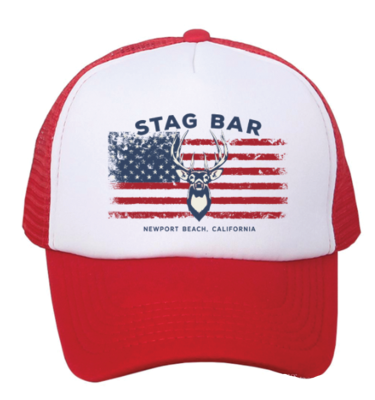 red white and blue trucker